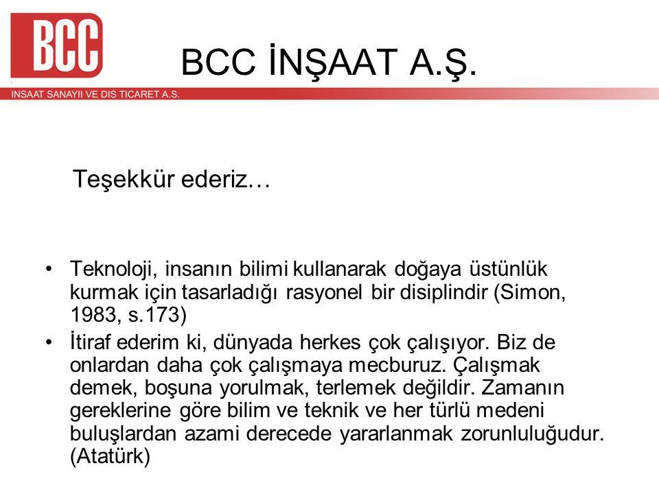 BCC İNŞAAT A.Ş. Teşekkür ederiz…