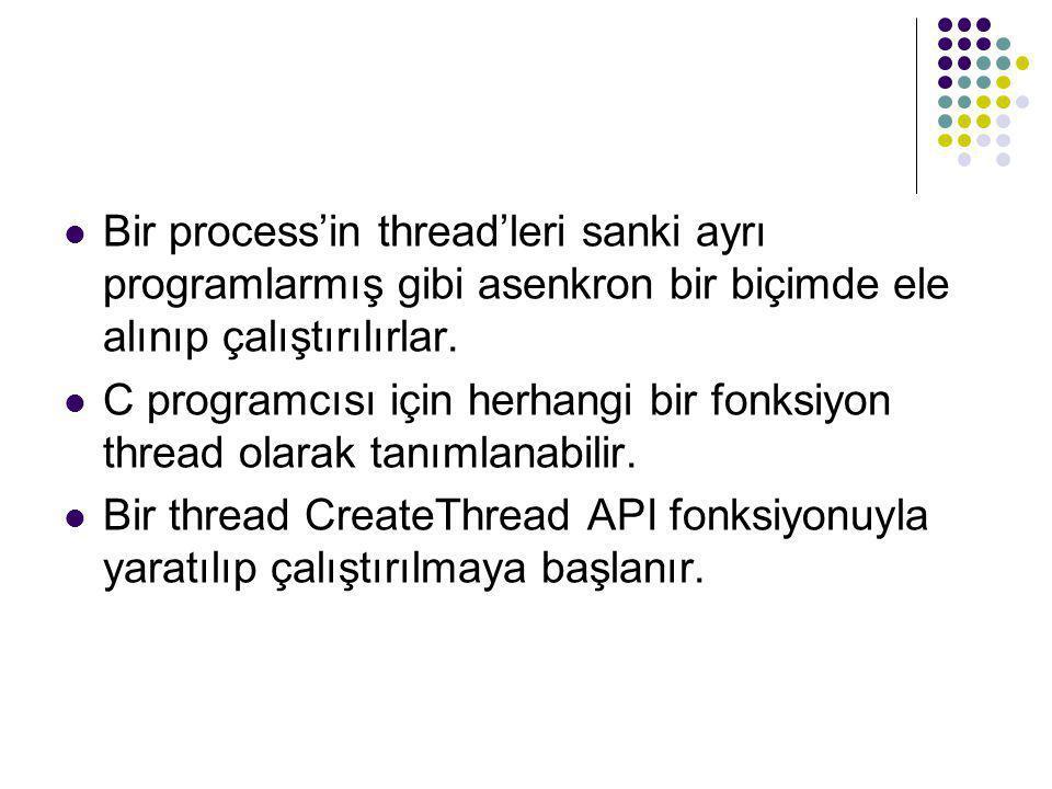 Bir process'in thread'leri sanki ayrı programlarmış gibi asenkron bir biçimde ele alınıp çalıştırılırlar.