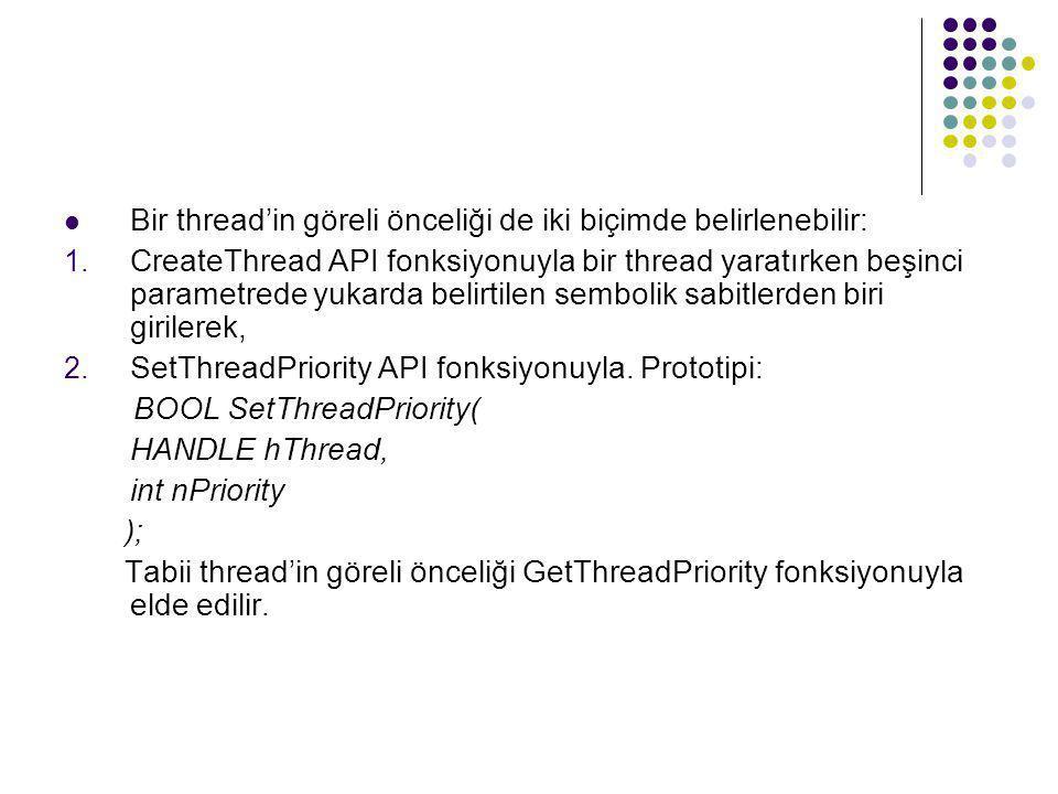 Bir thread'in göreli önceliği de iki biçimde belirlenebilir: