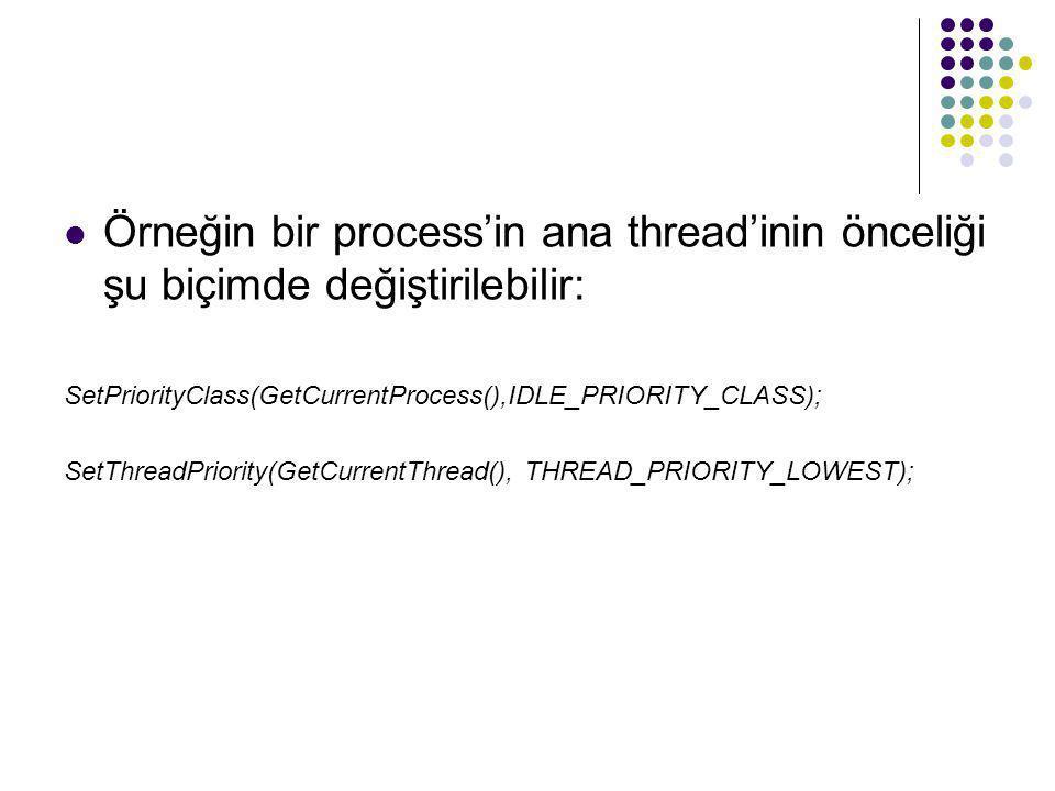 Örneğin bir process'in ana thread'inin önceliği şu biçimde değiştirilebilir: