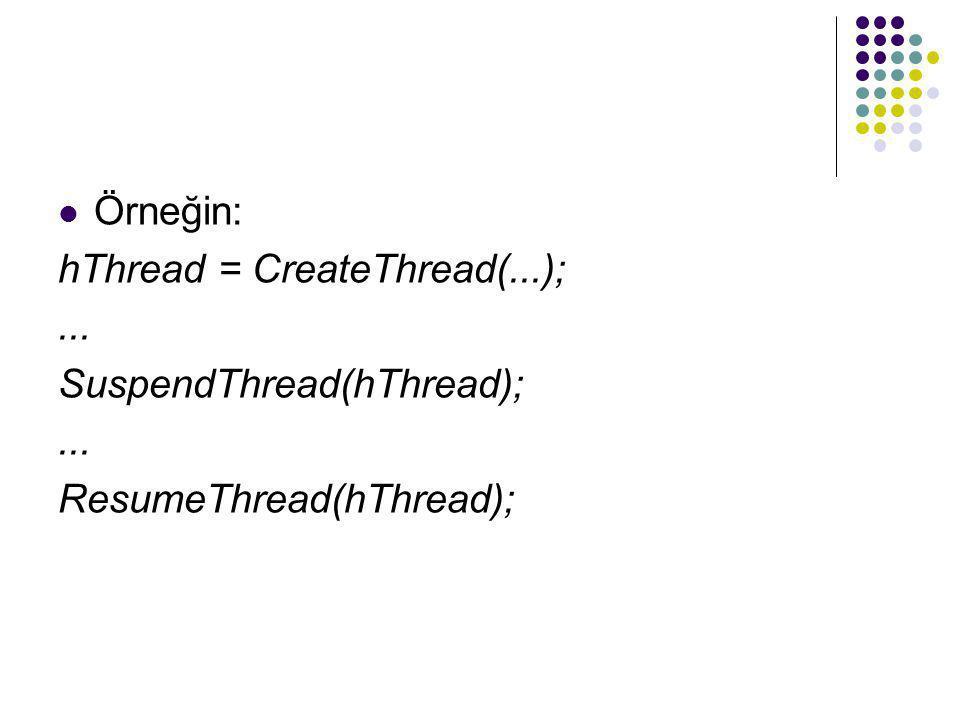 Örneğin: hThread = CreateThread(...); ... SuspendThread(hThread); ResumeThread(hThread);