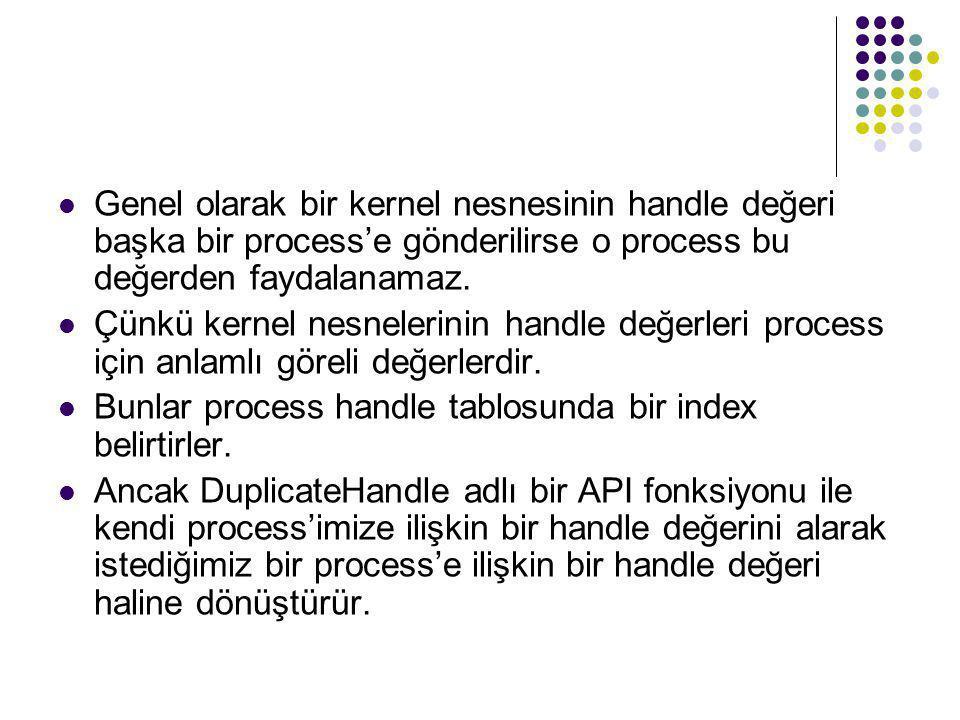 Genel olarak bir kernel nesnesinin handle değeri başka bir process'e gönderilirse o process bu değerden faydalanamaz.