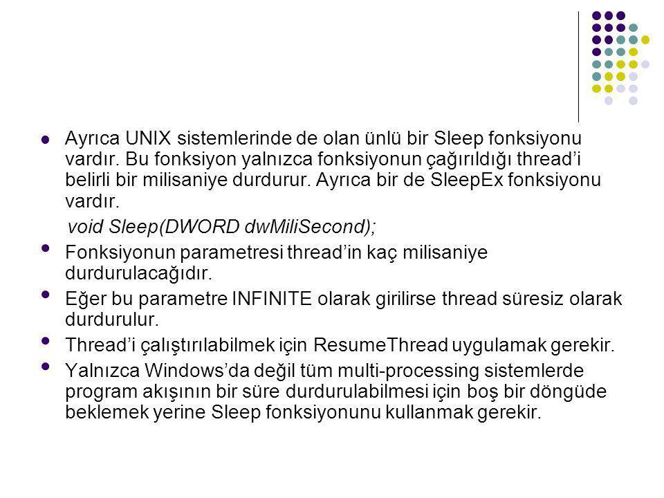Ayrıca UNIX sistemlerinde de olan ünlü bir Sleep fonksiyonu vardır