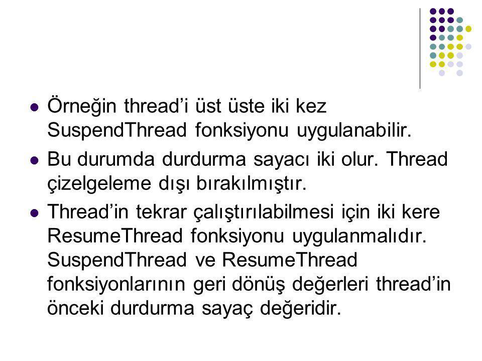 Örneğin thread'i üst üste iki kez SuspendThread fonksiyonu uygulanabilir.