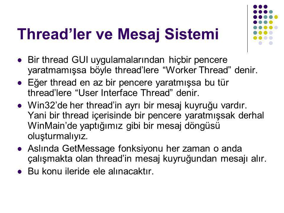 Thread'ler ve Mesaj Sistemi