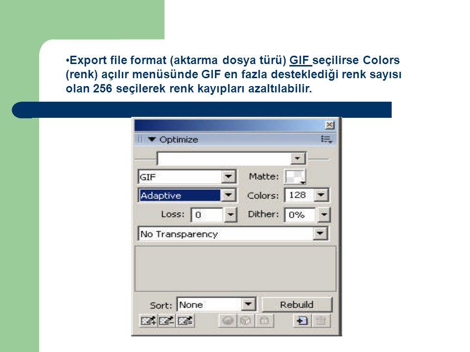 Export file format (aktarma dosya türü) GIF seçilirse Colors (renk) açılır menüsünde GIF en fazla desteklediği renk sayısı olan 256 seçilerek renk kayıpları azaltılabilir.