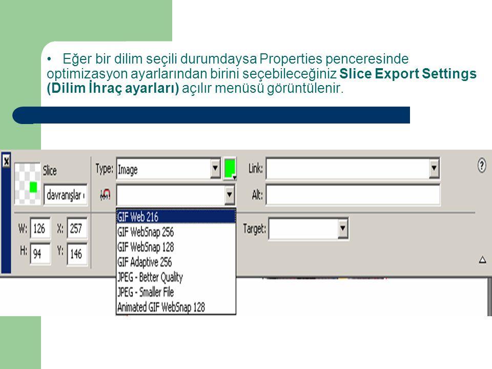 Eğer bir dilim seçili durumdaysa Properties penceresinde optimizasyon ayarlarından birini seçebileceğiniz Slice Export Settings (Dilim İhraç ayarları) açılır menüsü görüntülenir.