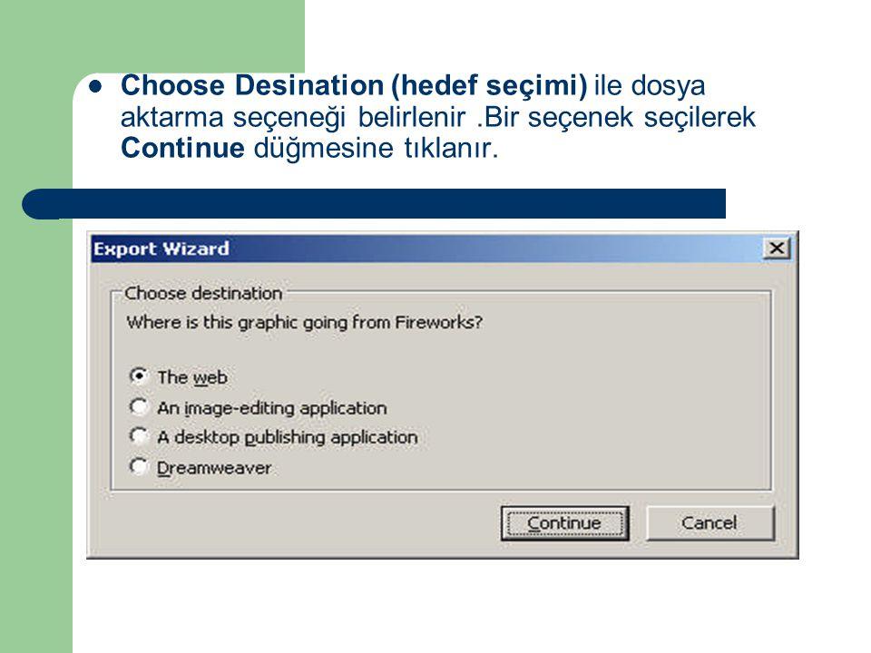 Choose Desination (hedef seçimi) ile dosya aktarma seçeneği belirlenir