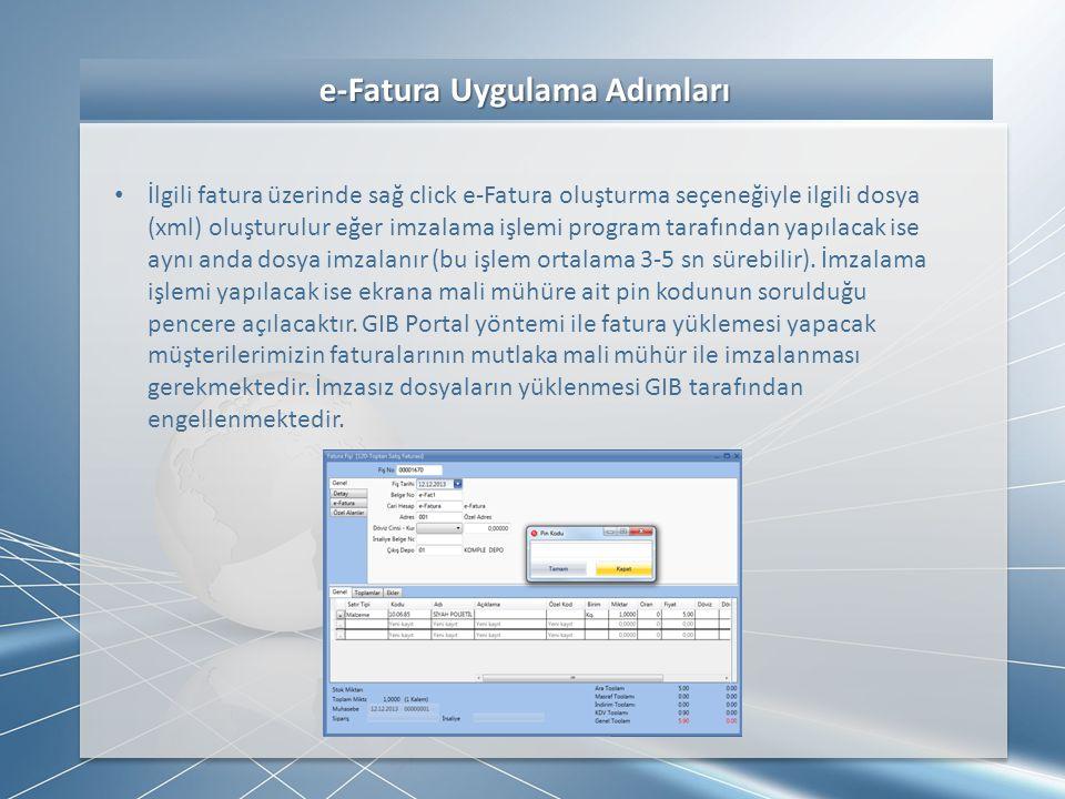 e-Fatura Uygulama Adımları