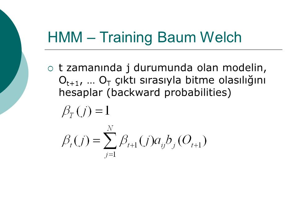 HMM – Training Baum Welch