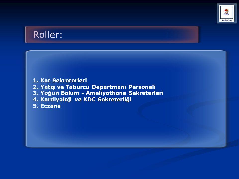 Roller: 1. Kat Sekreterleri 2. Yatış ve Taburcu Departmanı Personeli