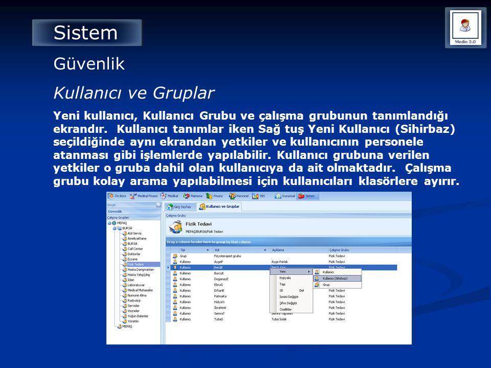 Sistem Güvenlik Kullanıcı ve Gruplar