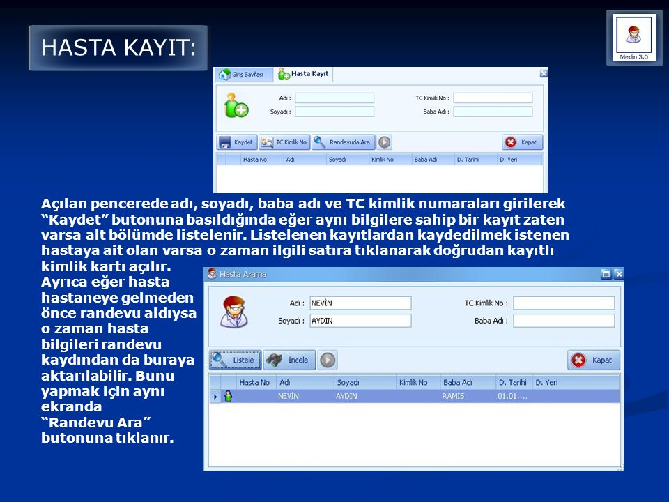 HASTA KAYIT:
