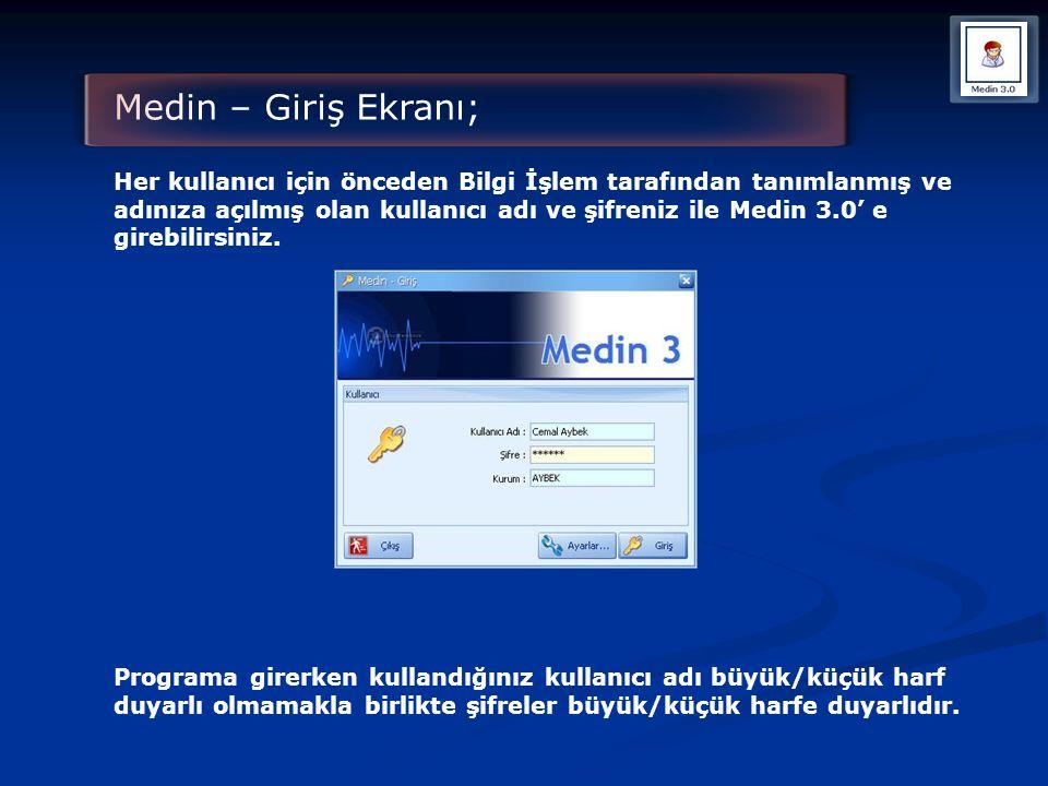 Medin – Giriş Ekranı;