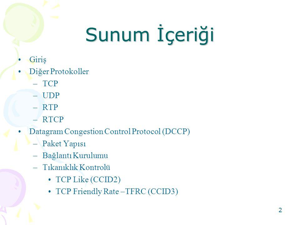 Sunum İçeriği Giriş Diğer Protokoller TCP UDP RTP RTCP
