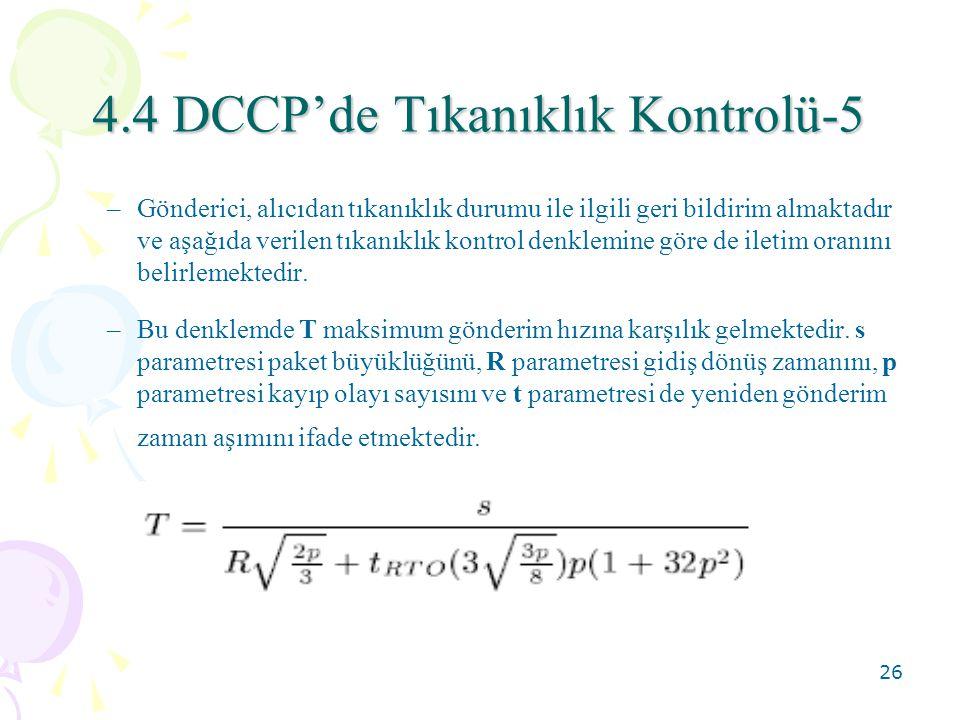 4.4 DCCP'de Tıkanıklık Kontrolü-5