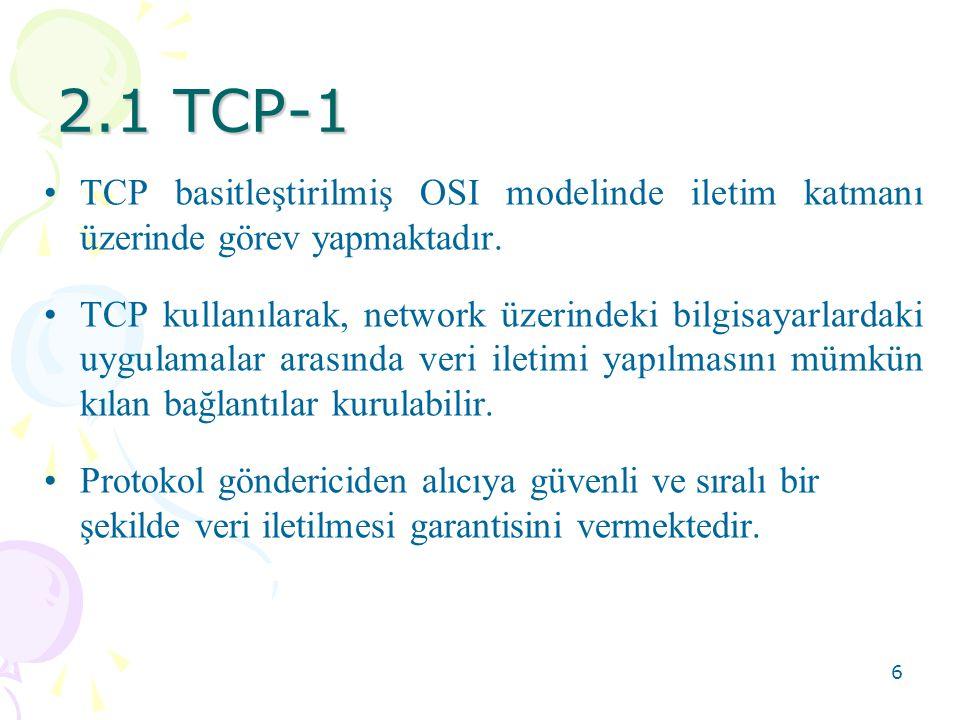 2.1 TCP-1 TCP basitleştirilmiş OSI modelinde iletim katmanı üzerinde görev yapmaktadır.