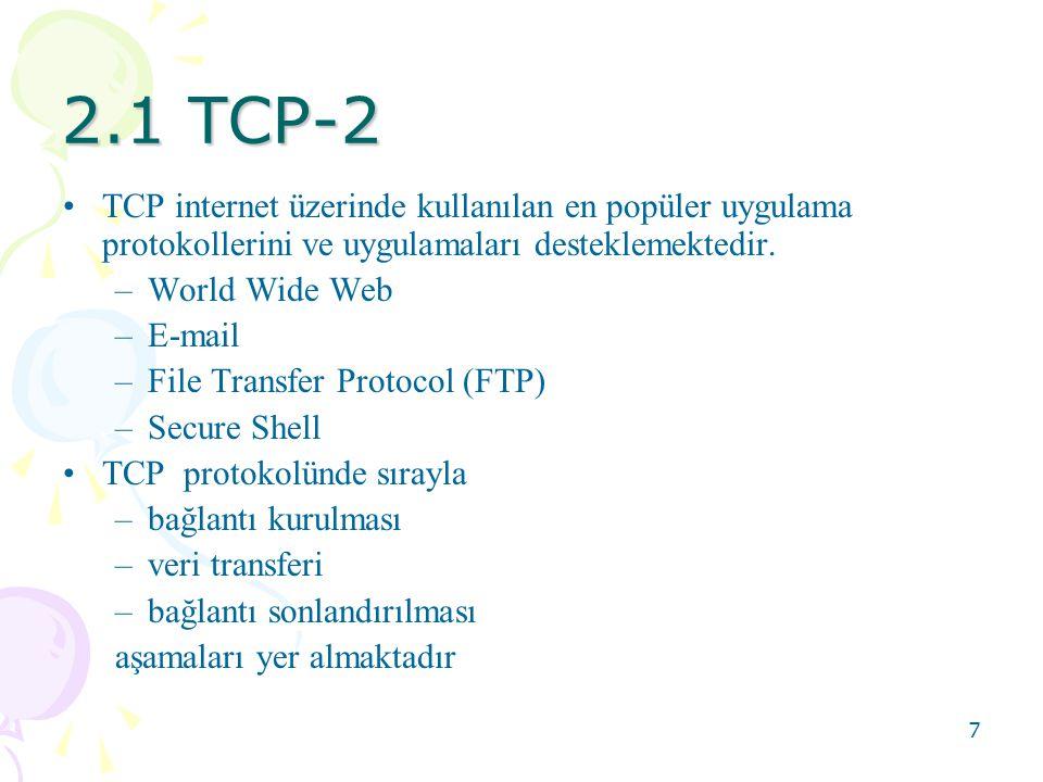 2.1 TCP-2 TCP internet üzerinde kullanılan en popüler uygulama protokollerini ve uygulamaları desteklemektedir.