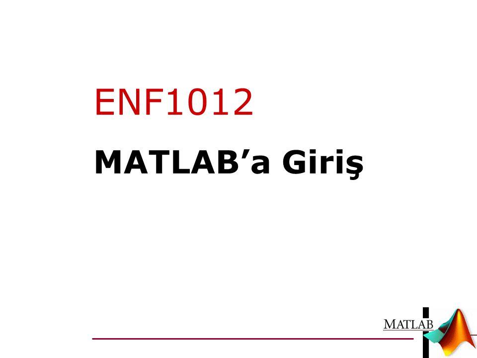ENF1012 MATLAB'a Giriş