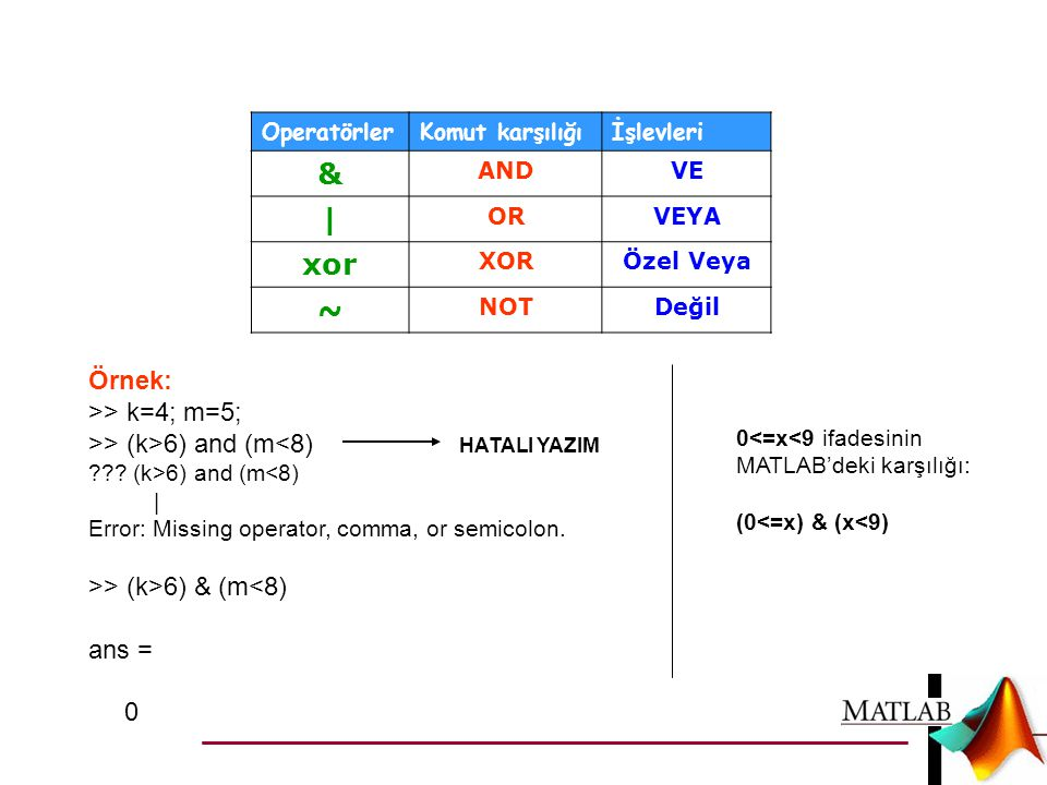 & | xor ~ Örnek: >> k=4; m=5;