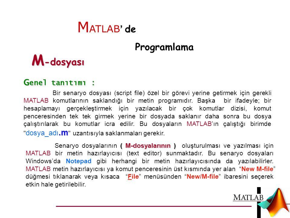 MATLAB' de M-dosyası Programlama Genel tanıtımı :