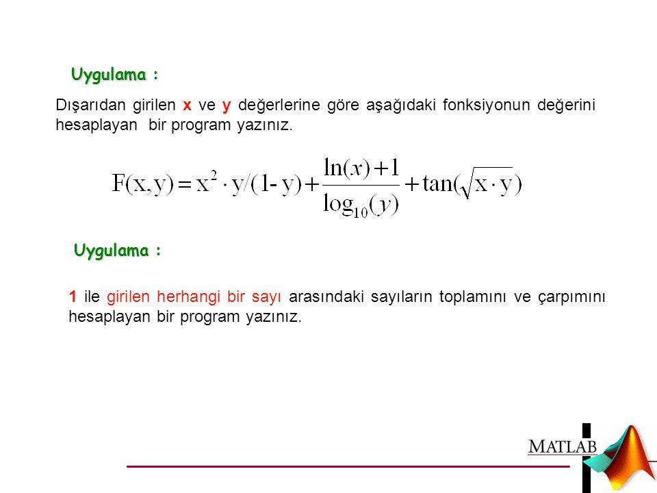Uygulama : Dışarıdan girilen x ve y değerlerine göre aşağıdaki fonksiyonun değerini hesaplayan bir program yazınız.