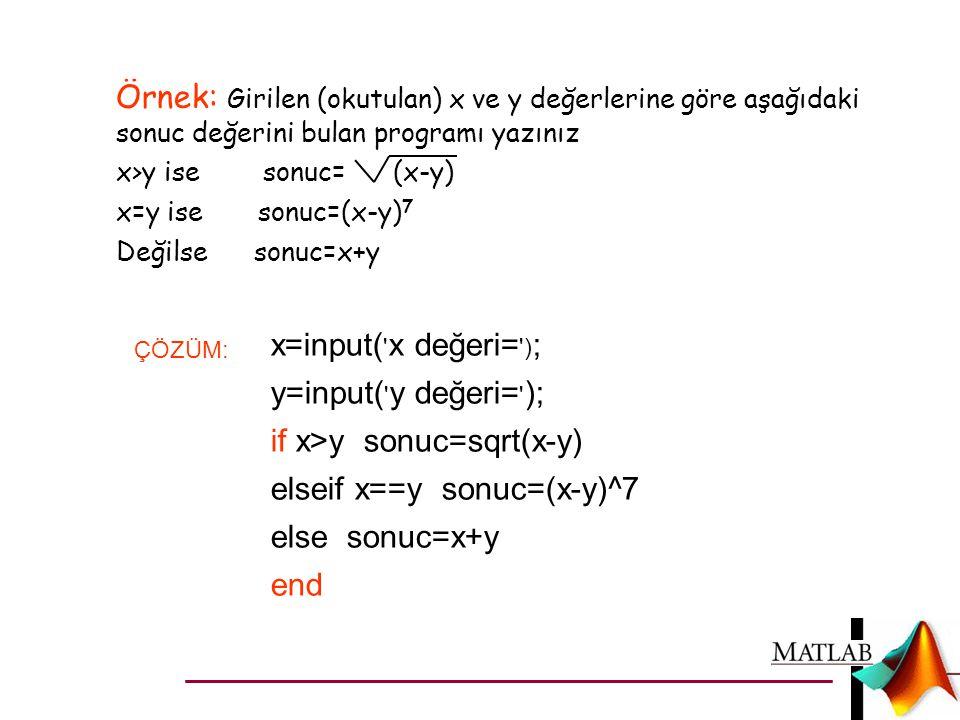 if x>y sonuc=sqrt(x-y) elseif x==y sonuc=(x-y)^7 else sonuc=x+y end