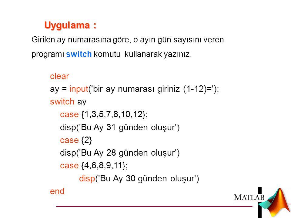 Uygulama : clear ay = input( bir ay numarası giriniz (1-12)= );