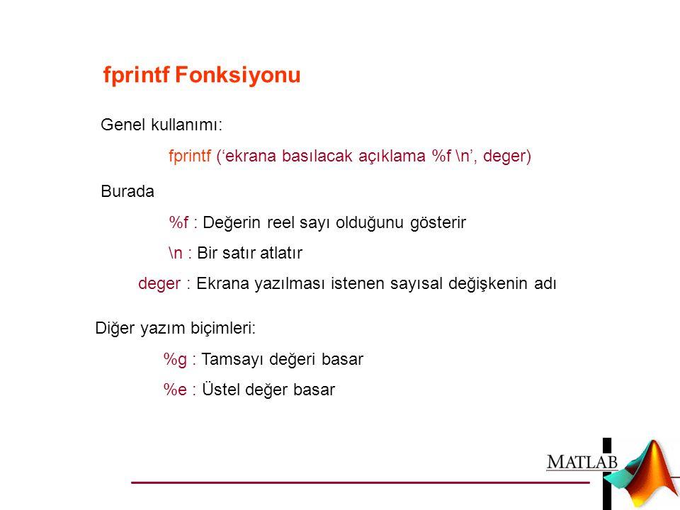fprintf Fonksiyonu Genel kullanımı: