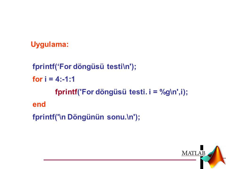 Uygulama: fprintf('For döngüsü testi\n ); for i = 4:-1:1. fprintf( For döngüsü testi. i = %g\n ,i);