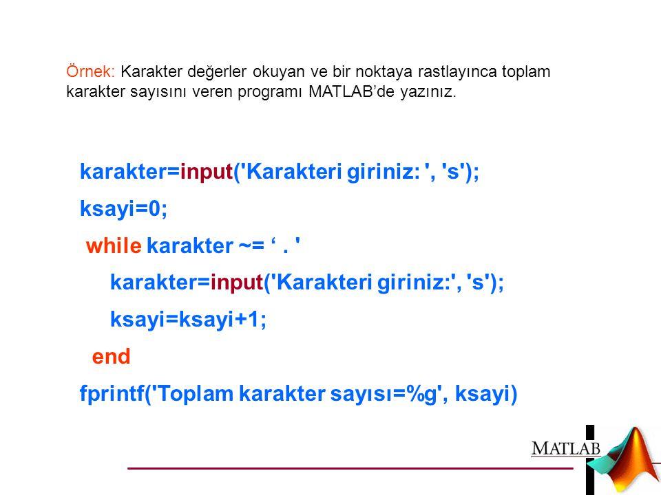 karakter=input( Karakteri giriniz: , s ); ksayi=0;