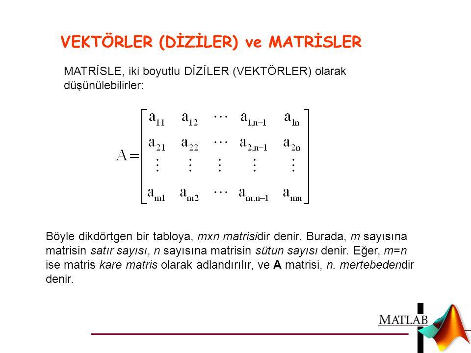 VEKTÖRLER (DİZİLER) ve MATRİSLER