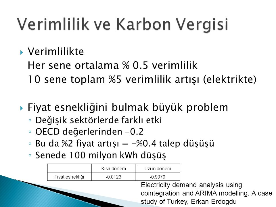 Verimlilik ve Karbon Vergisi