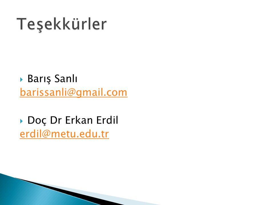 Teşekkürler Barış Sanlı barissanli@gmail.com Doç Dr Erkan Erdil
