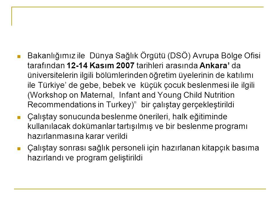 Bakanlığımız ile Dünya Sağlık Örgütü (DSÖ) Avrupa Bölge Ofisi tarafından 12-14 Kasım 2007 tarihleri arasında Ankara' da üniversitelerin ilgili bölümlerinden öğretim üyelerinin de katılımı ile Türkiye' de gebe, bebek ve küçük çocuk beslenmesi ile ilgili (Workshop on Maternal, Infant and Young Child Nutrition Recommendations in Turkey) bir çalıştay gerçekleştirildi