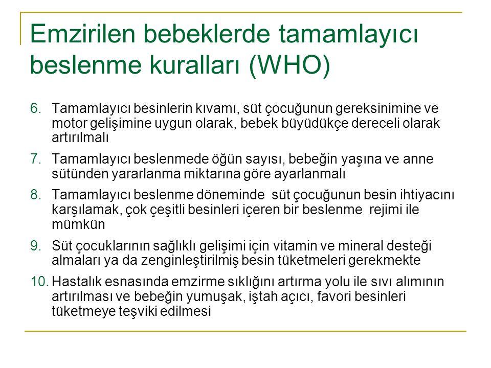 Emzirilen bebeklerde tamamlayıcı beslenme kuralları (WHO)