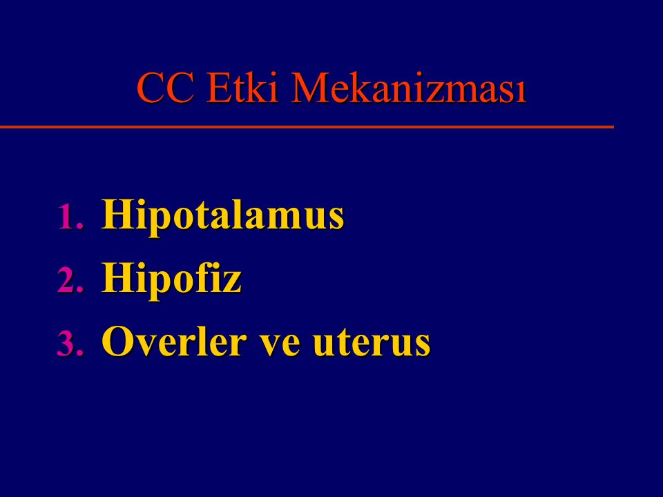 CC Etki Mekanizması Hipotalamus Hipofiz Overler ve uterus