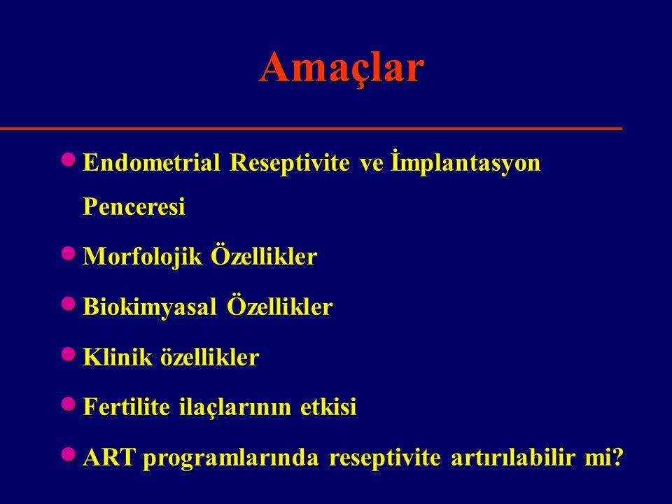 Amaçlar Endometrial Reseptivite ve İmplantasyon Penceresi
