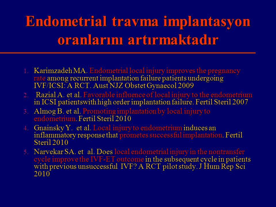 Endometrial travma implantasyon oranlarını artırmaktadır