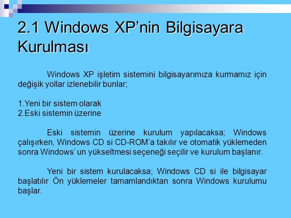 2.1 Windows XP'nin Bilgisayara Kurulması