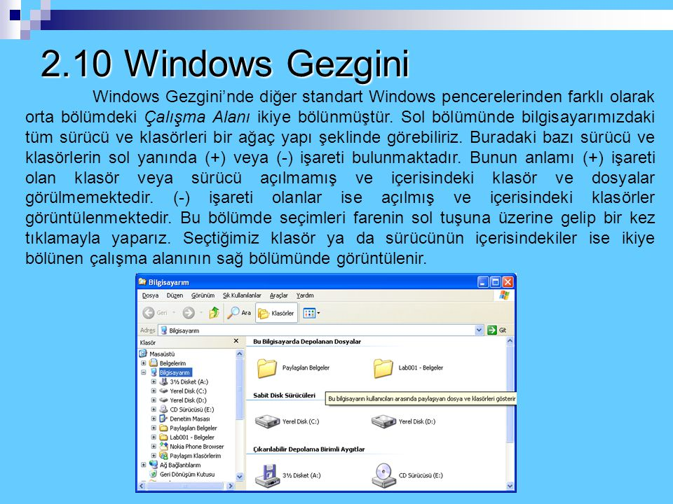 2.10 Windows Gezgini