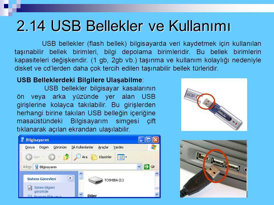 2.14 USB Bellekler ve Kullanımı