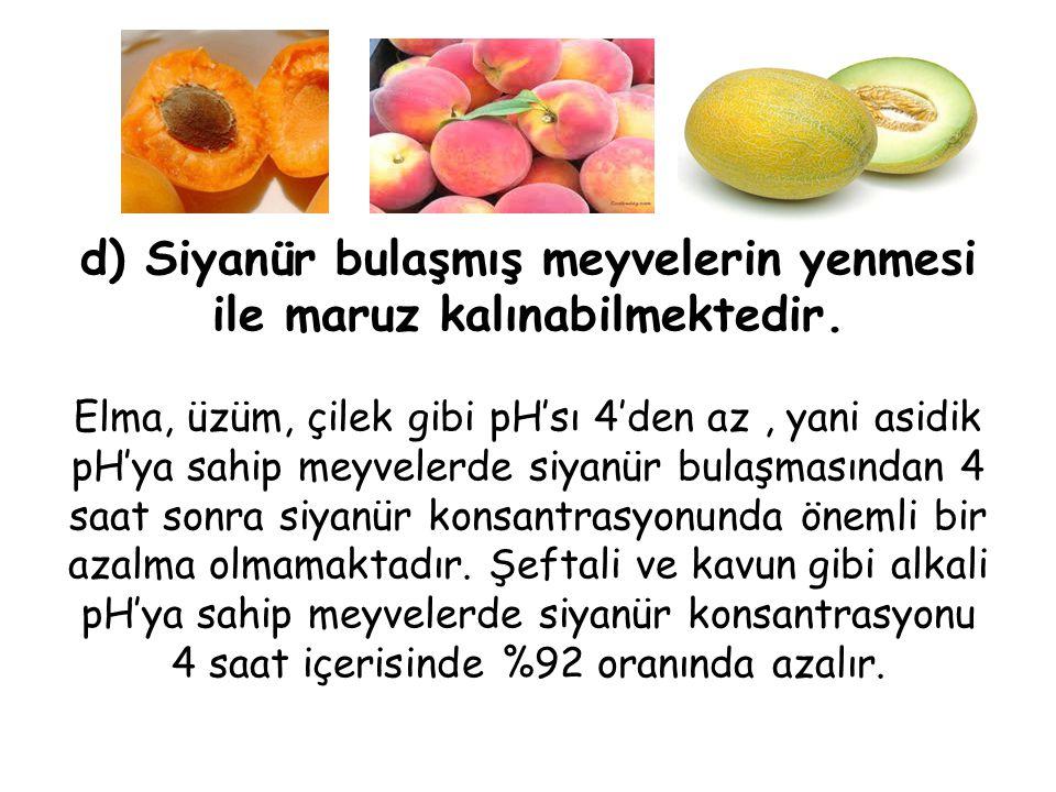 d) Siyanür bulaşmış meyvelerin yenmesi ile maruz kalınabilmektedir