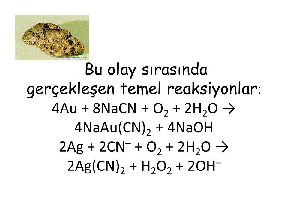 Bu olay sırasında gerçekleşen temel reaksiyonlar: 4Au + 8NaCN + O2 + 2H2O → 4NaAu(CN)2 + 4NaOH 2Ag + 2CN– + O2 + 2H2O → 2Ag(CN)2 + H2O2 + 2OH–
