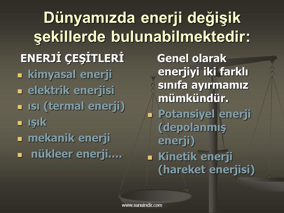 Dünyamızda enerji değişik şekillerde bulunabilmektedir: