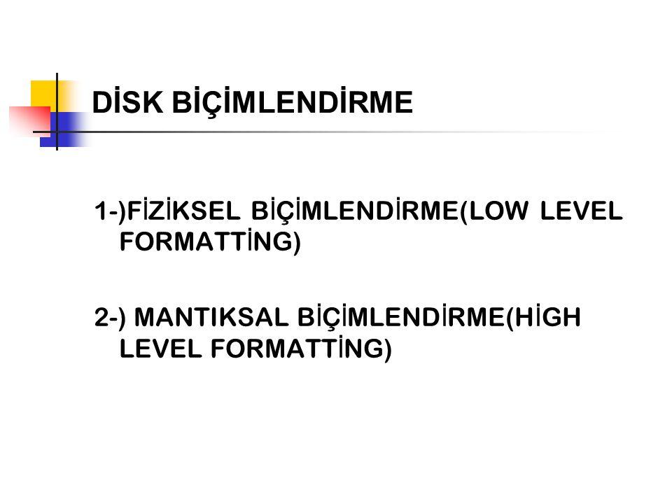 DİSK BİÇİMLENDİRME 1-)FİZİKSEL BİÇİMLENDİRME(LOW LEVEL FORMATTİNG)