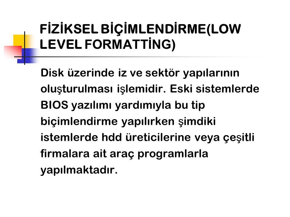 FİZİKSEL BİÇİMLENDİRME(LOW LEVEL FORMATTİNG)