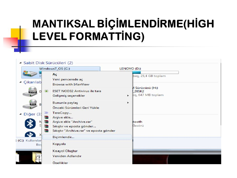 MANTIKSAL BİÇİMLENDİRME(HİGH LEVEL FORMATTİNG)