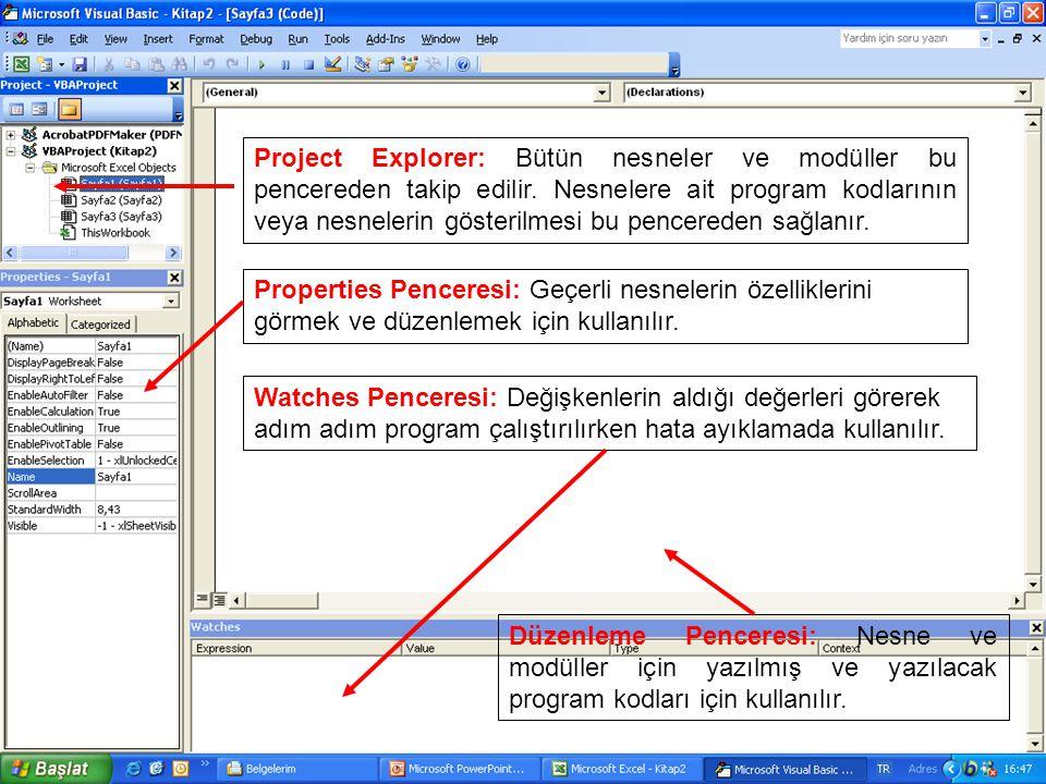 Project Explorer: Bütün nesneler ve modüller bu pencereden takip edilir. Nesnelere ait program kodlarının veya nesnelerin gösterilmesi bu pencereden sağlanır.