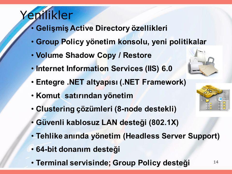 Yenilikler Gelişmiş Active Directory özellikleri